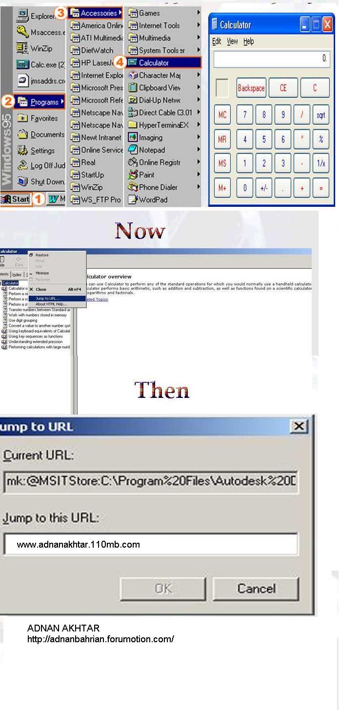 Run Internet site from Windows calculator 10110
