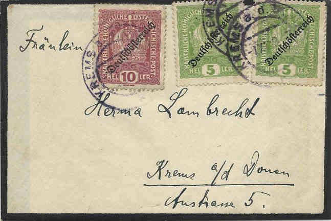Inflation in Österreich - Belege - 1918 bis 1925 07091910