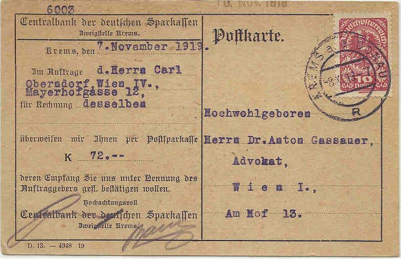 Inflation in Österreich - Belege - 1918 bis 1925 08111910