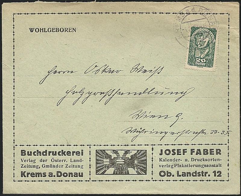 Inflation in Österreich - Belege - 1918 bis 1925 19190910