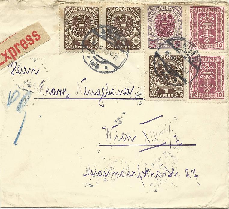 Inflation in Österreich - Belege - 1918 bis 1925 19220210