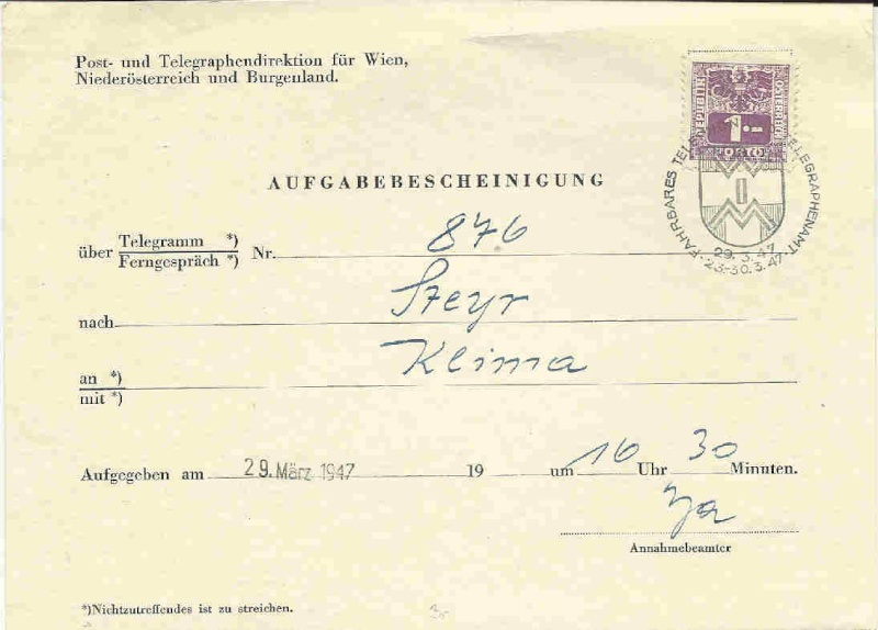 Verwendung von Portomarken in Österreich Aufgab10