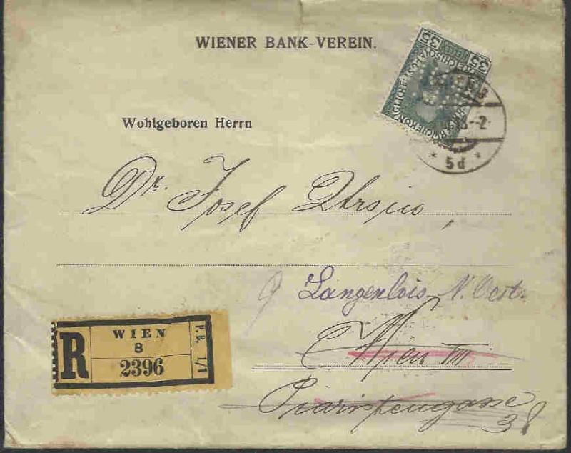 Briefe / Poststücke österreichischer Banken Perfin10