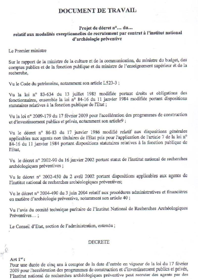 Projet de décret sur le contrat d'opération Projet12