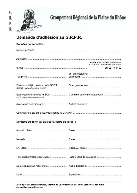 Formulaire d'adhésion au GRPR Demand10