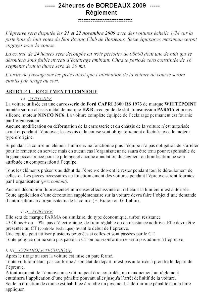 24 HEURES DE BORDEAUX 21-22 NOVEMBRE Reglem10