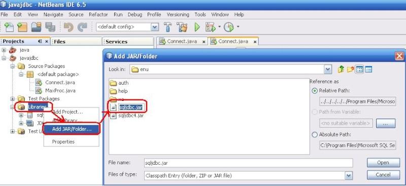 Cách kết nối Java với SQL server Addjar10