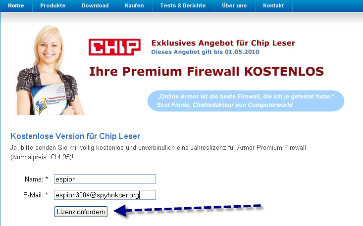 Télécharger Online Armor firewall gratuit pour un an 21-11-10