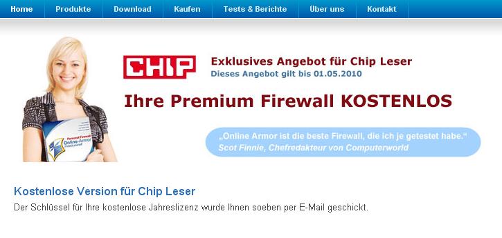 Télécharger Online Armor firewall gratuit pour un an 21-11-11