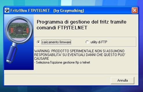 programma di pseudorecovery via ftp e gestione telnet Fritz11