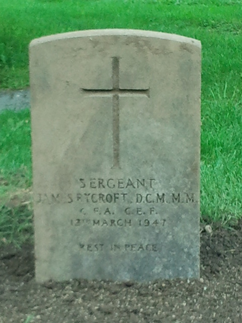 Grave stone of Sgt James Rycroft DCM MM  Square10