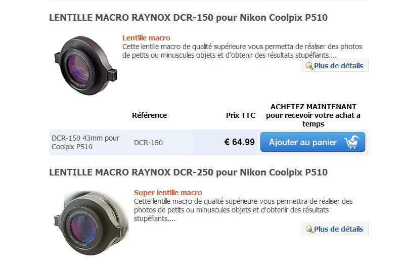 Lentilles pour Nikon coolpix P510 Lentil10