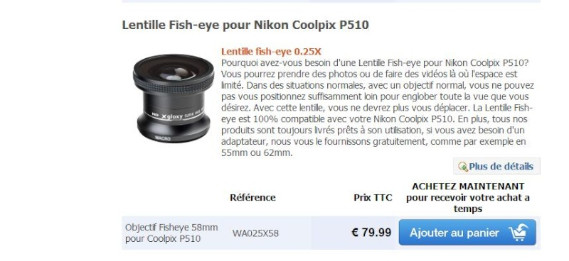 Lentilles pour Nikon coolpix P510 Lentil11