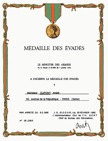 La Médaille des Evadés Evades11