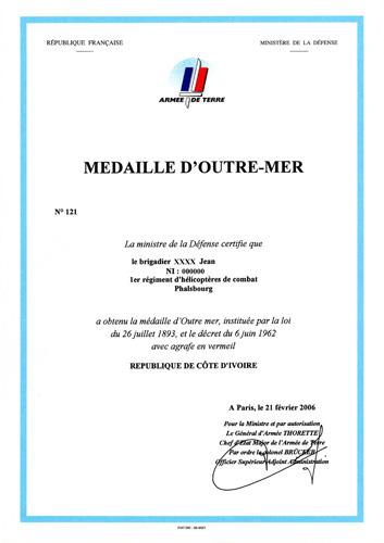 La Médaille d'Outre-Mer Omdipa10