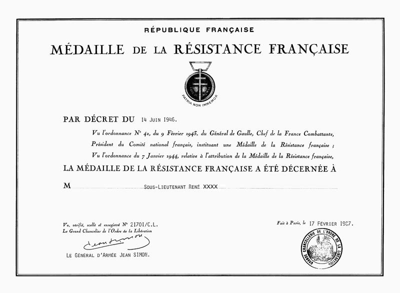 La Médaille de la Résistance Française Resist11