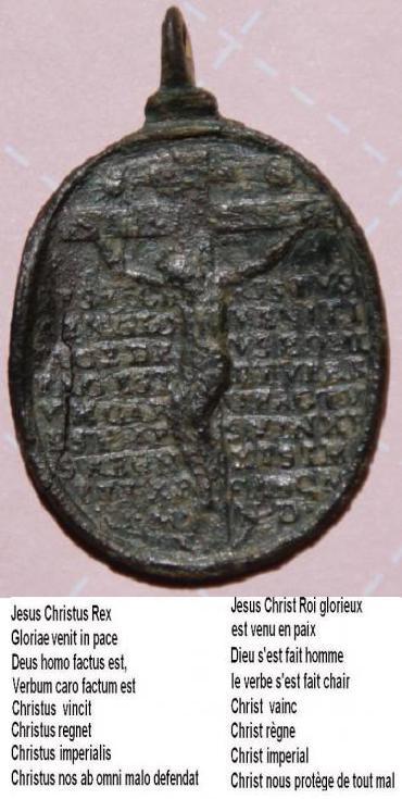 Médaille visages Jésus & Marie - Jésus sur la croix au revers - XVIIème Jes_0011