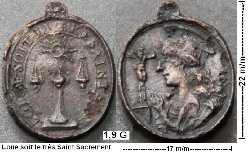 Médaille Marie Madeleine & Ostensoire - XVIIème Loua_s12