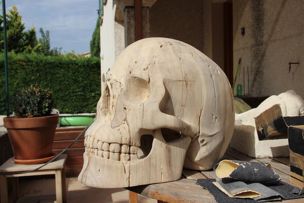 Crâne en micocoulier échelle 2 Img_2113