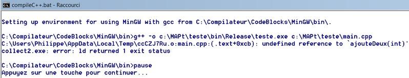 C++: fichier bat pour lancer le compilateur[résolu] Erreur10