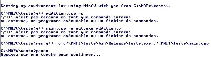 C++: fichier bat pour lancer le compilateur[résolu] Messag10
