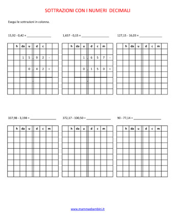Numeri e frazioni decimali Sottra10
