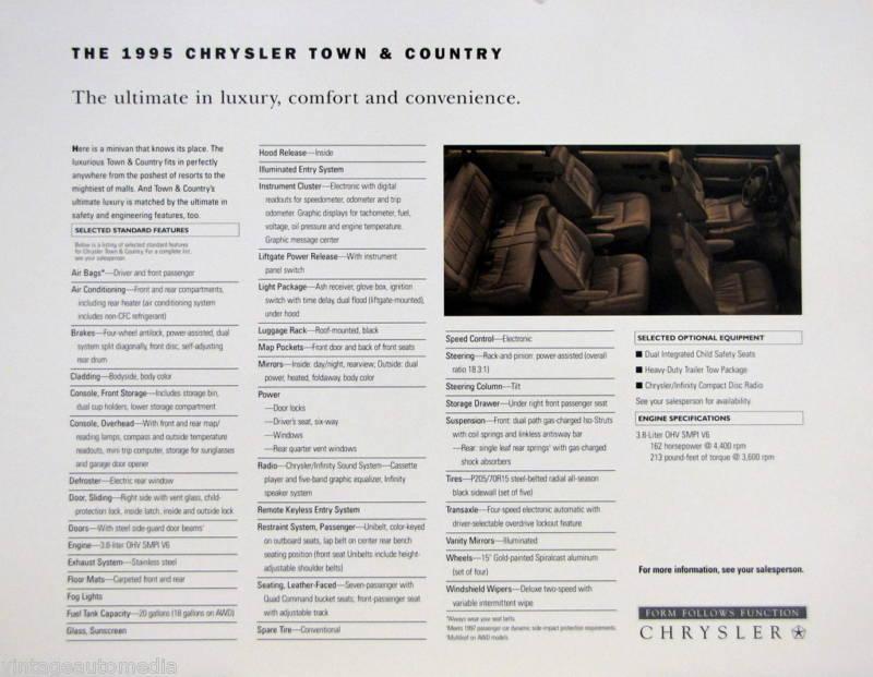 AV Brochure recto verso A4 du Chrysler Town & Country 1995 US B1hi6s10