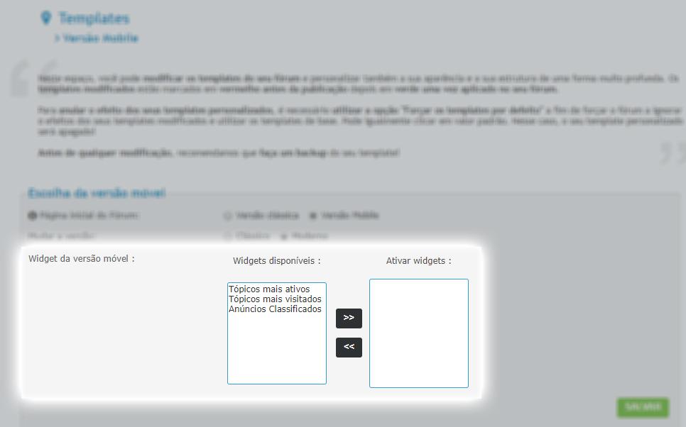 Ative os widgets para a versão móvel de seu fórum Acp10