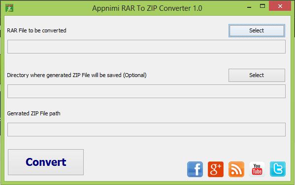 Appnimi RAR To ZIP Converter 1.0 - μετατρέπει αρχεία RAR σε μορφή zip Appnim10