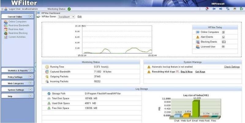 WFilter 1.0.171 - Monitor, φίλτρο και μπλοκ σε δραστηριότητες του δικτύου σας Bandwi10