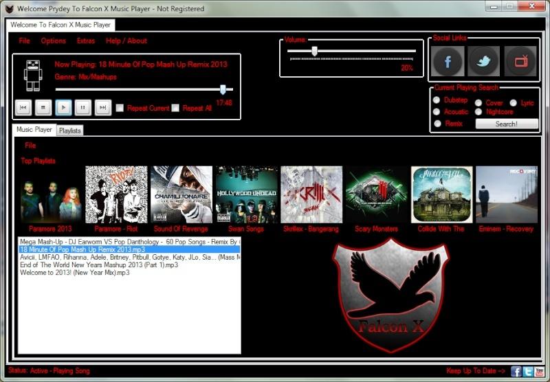 Falcon X Music Player 1.0 Beta  Main-f10