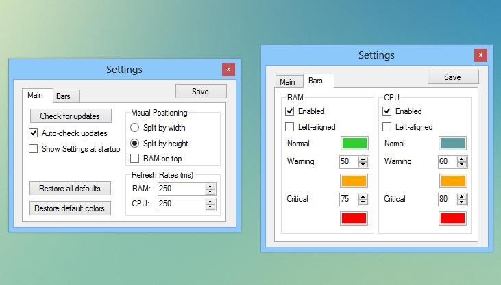 RAM CPU Taskbar 2.2.2 - Μετρητής Ram και CPU Ram_cp10