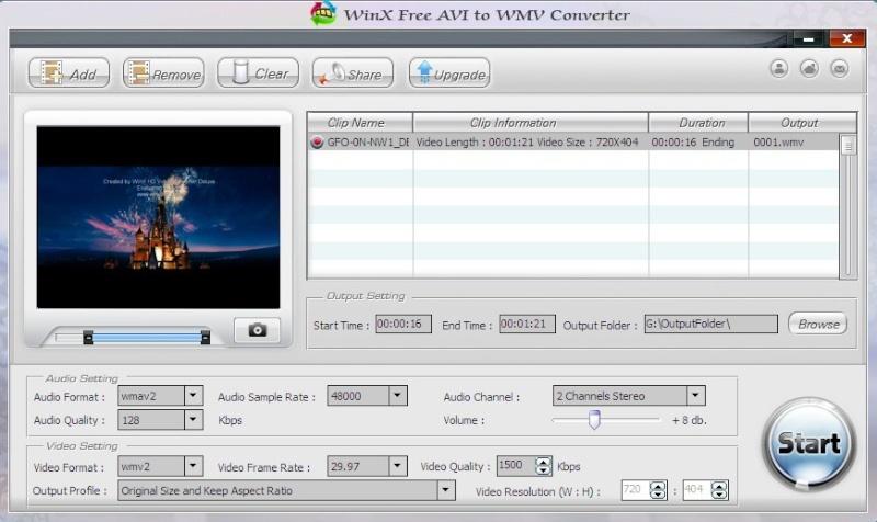 WinX Free AVI to WMV Converter 5.0.8 Scree134