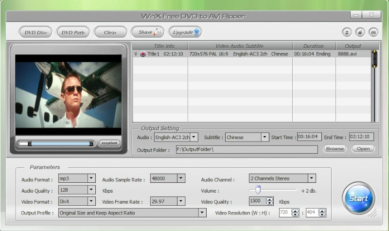 WinX Free DVD to AVI Ripper 4.4.3 Scree173