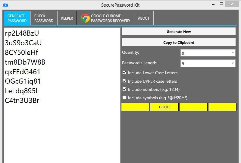 SecurePassword Kit 4.2.0.0 - Δημιουργήστε ισχυρούς κωδικούς πρόσβασης Screen37