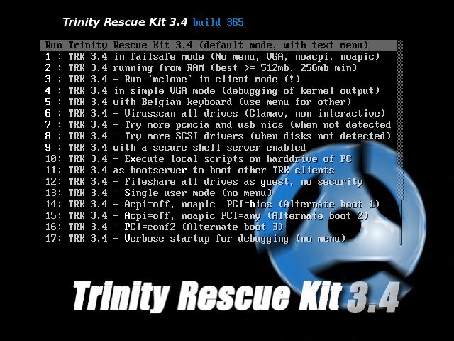 Trinity Rescue Kit 3.4 Build 367 - Eπαναφέρει τον κωδικό πρόσβασης εισόδου Trk34-10