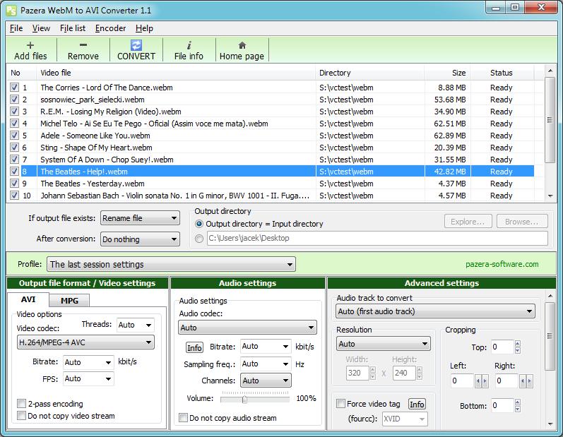 Pazera WebM to AVI Converter 1.2 - Μια εφαρμογή που μετατρέπει αρχεία Web Media σε AVI ή MPG Webmto10