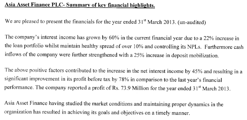 Interim Financial Statements 31-03-2013 - AAF  Aaf10