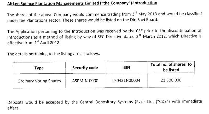 Aitken Spence Sri Lanka plantation unit to be listed Aitken10