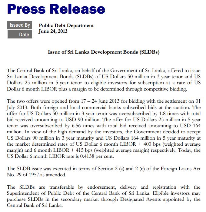 Sri Lanka issues US$ 254 million development bonds Bond10