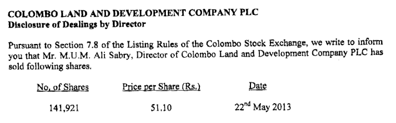 23-May-2013 Dealings by Directors - CLND Clnd10
