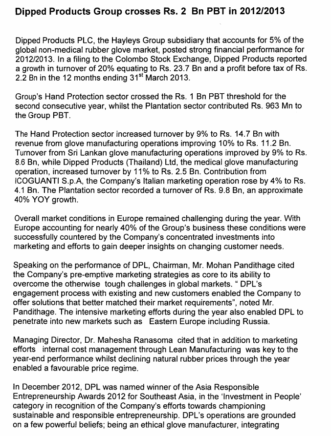 15-May-2013 Interim financial statements & Press Release 31-03-2013 - DIPD Dipd10