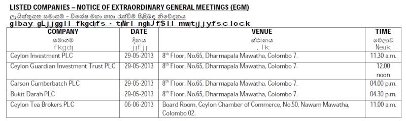 Trade Summary Market - 16/05/2013 Egm10
