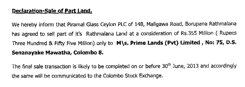 Piramal to sell part of its Ratmalana land for Rs. 350 mn. Extent to be sold not disclosed Glas10