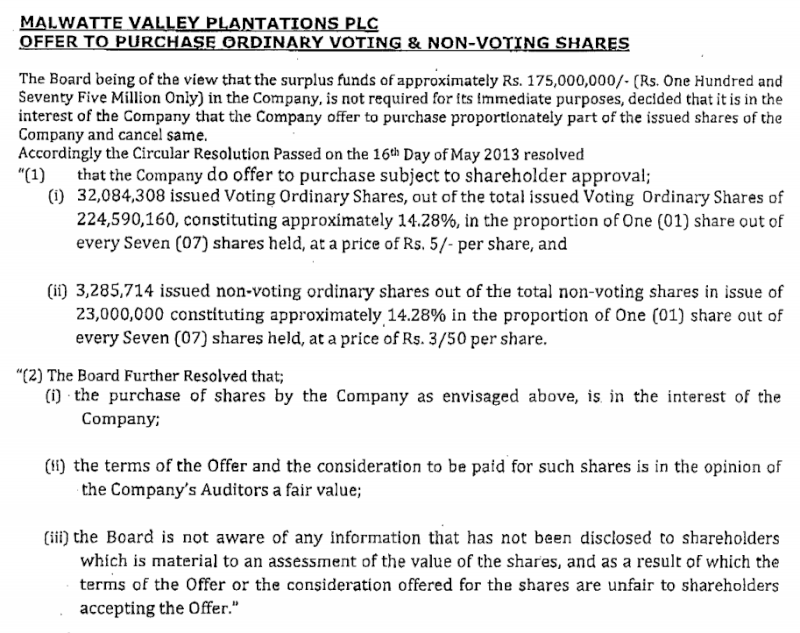 16-May-2013 Malwatte Valley Plantations - Offer to purchase Ordinary & Non Voting Shares Mal110