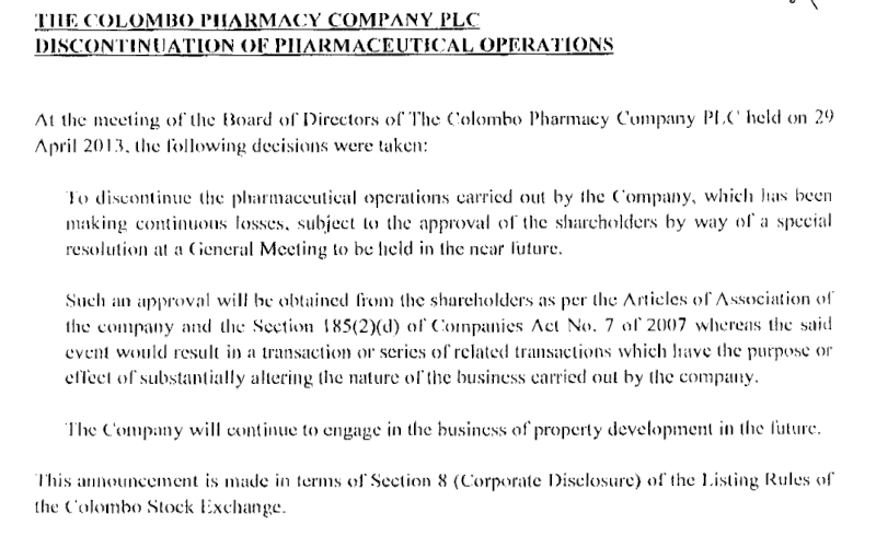 02-May-2013 Discontinuation of Pharmaceutical Operations - PHAR Pharma10