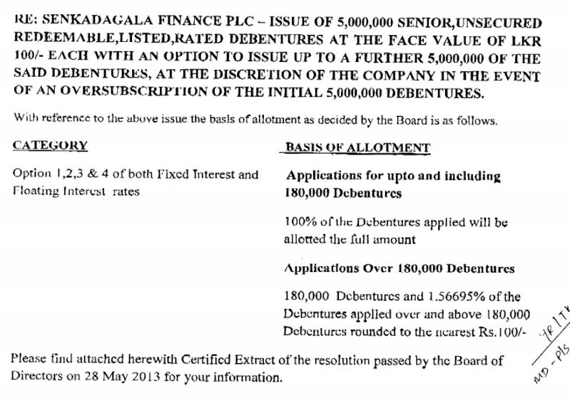 Sri Lanka's Senkadagala Finance's Rs. 1 billion debt issue oversubscribed Senkad10