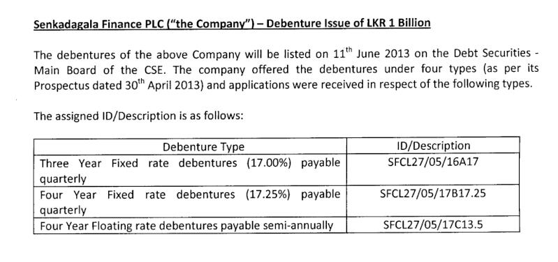 Senkadagala debentures listing today Senkad11