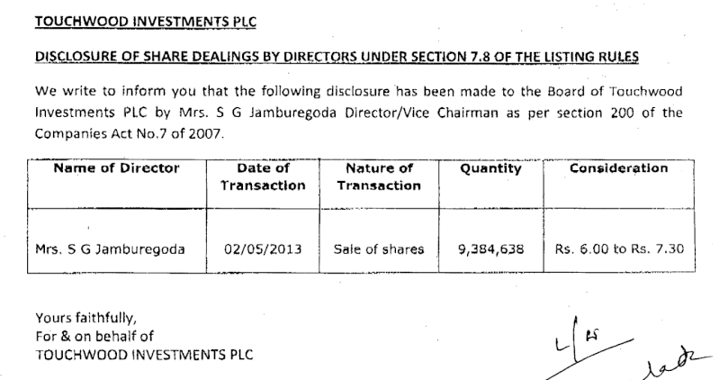 15-May-2013  Touchwood Investments - Dealing by Directors  Twod11