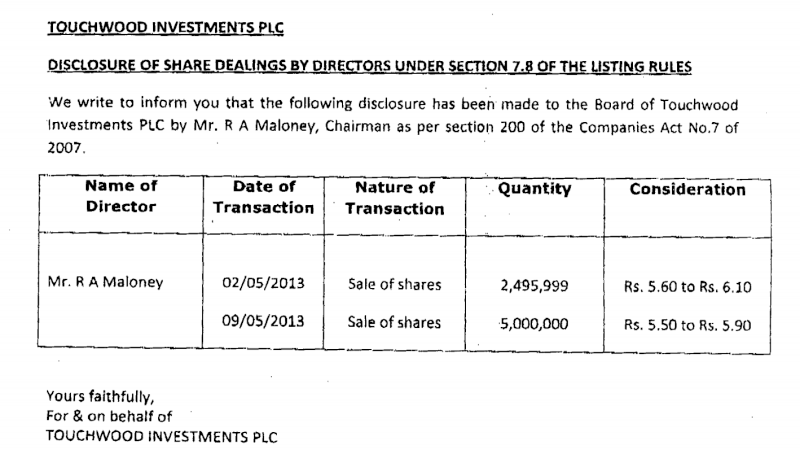 15-May-2013  Touchwood Investments - Dealing by Directors  Twod110